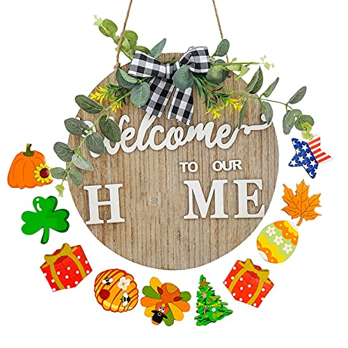 DriSubt Wooden Welcome Sign for Front Door Decor, 11.8 Inch Seasonal 9 Holiday Interchangeable Icons, Rustic Wall Hanging Porch Decorations for Farmhouse Outdoor Independence Day Housewarming Gifts