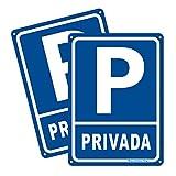 2pcs Plaza de Aparcamiento Privado Cartel de Metal 180 * 250mm, Azul
