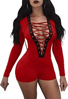 TOB Women's Sexy V Neck Lace Up Long Sleeve Club Romper Short Jumpsuit