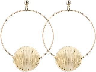 OMEYA Weave Rattan Ball Dangle Earrings for Women and Girl Handmade Round Vine Earrings Big Hoop Alloy earrings