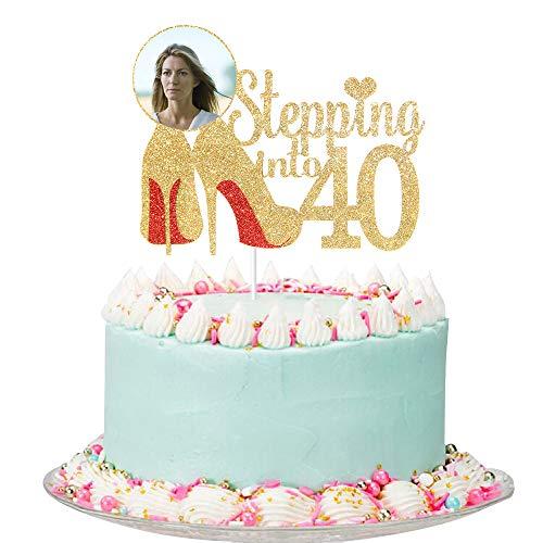 Gold Glitter Stepping into 40 Cake Topper - Women 40th Birthday Cake Topper, 40th Birthday Party Decorations