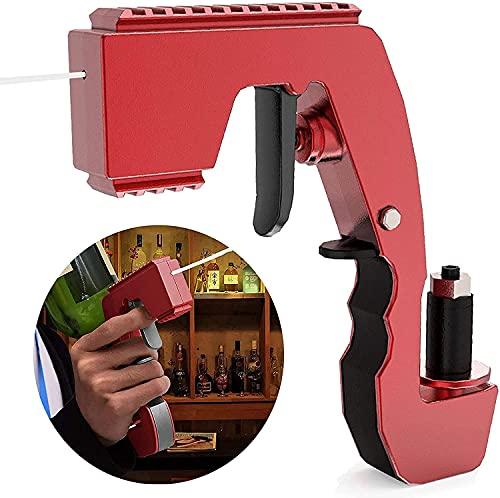 MoreJieka 1 rociador para pistola de vino, pistola de champán, tapón de champán, dispensador de vino de champán, dispensador de vino para bodas, fiestas, discotecas y bar (rojo)