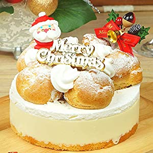 【予約注文】TABeRUN たべるン クリスマスケーキ 2020 プロフィトロールレアチーズケーキ クリスマス プレート 柊 サンタ 冷凍 ホールケーキ 5号