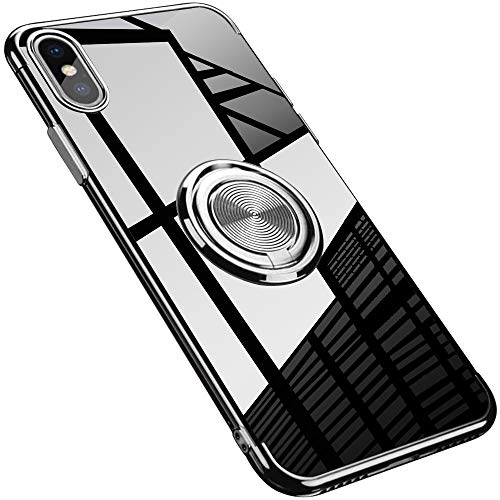 Grotech iPhone X Case, iPhone Xs Case Clear Ring Holder Car Magnetic Slim Fit Flexible Silicone Protective Bumper Cover (Silver)
