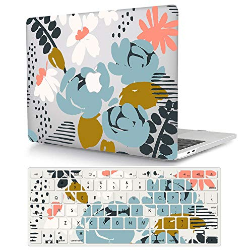Hard Case Only Compatible with MacBook Air 11 Inch(A1370/A1465),ACJYX Snap On Hard Shell Protective Cover & Keyboard Cover Skin for Mac Air 11,6 - Blue & white Flowers
