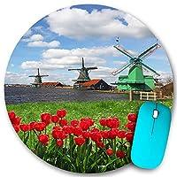 PATINISA ラウンドマウスパッド、アムステルダムの風光明媚なフィールド川の装飾的な赤いチューリップと伝統的なオランダの風車、PC ノートパソコン オフィス用 円形 デスクマット、ズされたゲーミングマウスパッド 滑り止め 耐久性が 200mmx200mm