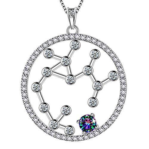 AuroraTears Schütze Halskette 925 Sterling Splitter Mystic Rainbow Topaz Constellation Runde Anhänger Horoskop mit Zirkonia Schmuck Geschenk für Frauen und Mädchen DP0218S