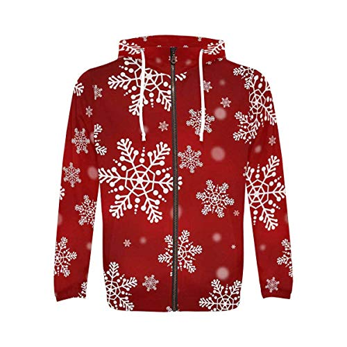 INTERESTPRINT Men's Long Sleeve Hoodie for Running Cycling Gym Christmas White Snowflakes S