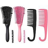 FANTESI 4 Stücke Entwirrungsbürste für Naturhaar, Detangling Brush für Afro-Haare 3a bis 4c Verworrenes, Lockiges Haar, Welliges, Entwirrer leicht mit Nass/Trocken