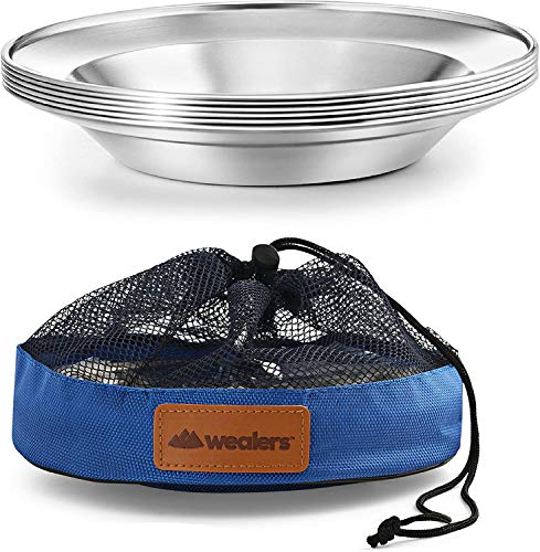 Teller-Set aus Edelstahl, 21,6 cm, tragbar, BPA-frei, Teller für Outdoor-Camping, Wandern, Picknick, Grillen, Strand, 4 Stück