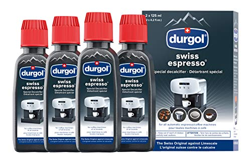 Durgol Swiss Espresso, Descaler and Decalcifier for All Brands of Espresso Machines and Coffee Makers, 4.2 Fluid Ounces (Pack of 4)