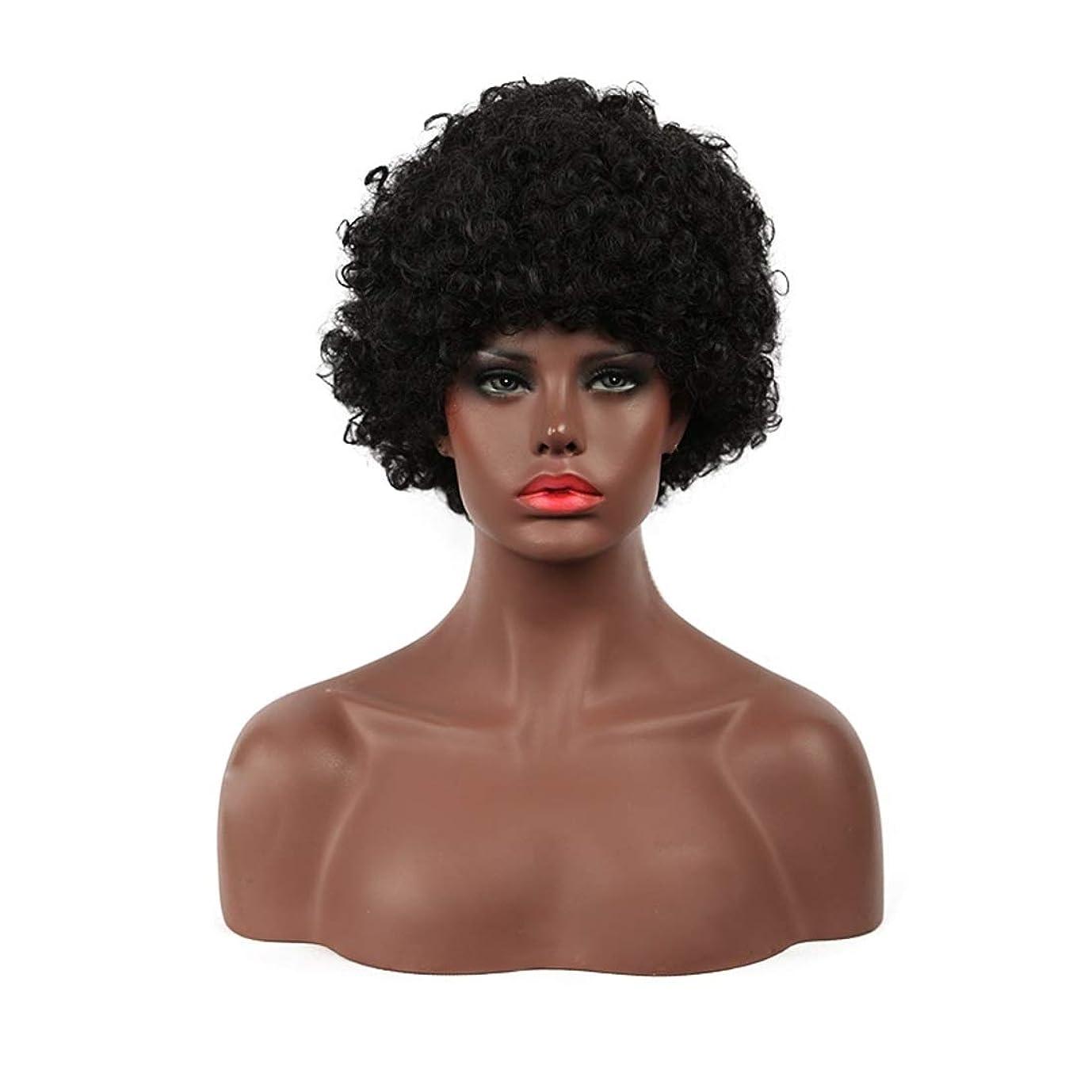 保全マイナス心臓Koloeplf 女性用ショートカーリーボブウィッグふわふわウェーブのかかった黒人工毛ウィッグナチュラルルウィッグ耐熱ウィッグウィッグキャップ付き (Color : Black)