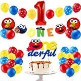 PANTIDE 42Pcs Sesame Birthday Party Decorations Kit - 1st Elmo Balloons Photo Prop, Sesame Onederful Cake Topper, Elmo Monster Banner, Great Sesame Theme Party Supplies for One Year Old Kids