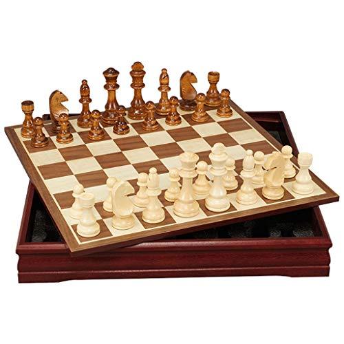 Juego de ajedrez clásico MDF Juego de ajedrez en banda Almacenamiento Internacional Juego de ajedrez Juego de ajedrez Piezas de ajedrez con franela antideslizante Regalo inferior Juego de juegos de me