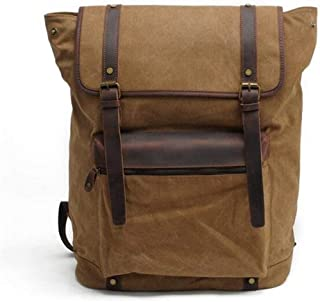 Leather Bag Mens Green Outdoors Ranger Green Backpacking Canvas Backpacks Large-Capacity Backpack Fashion Trend Appears Business High Capacity (Color : Brown, Size : S)