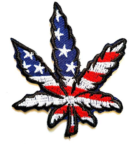 PP Patch Flag of America Pot Leaf Ganja Marijuana Weed Retro Boho Hippie Applique Iron-on Patch for Hat Jackets Bags Jeans T-Shirt Backpacks Costume