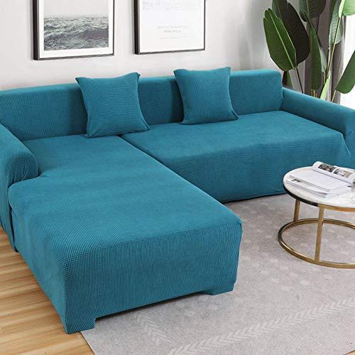GOPG Funda para sofá Resistente al Agua, Protector de Muebles antiagarres para Gatos y Perros Mascotas para sofá esquinero 1, 2, 3, 4 Asientos, poliéster, Azul, 1 Seats 90-140cm