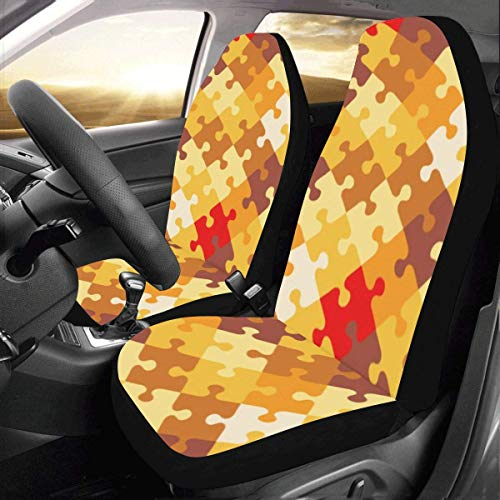 Smalaty Moeilijk Eindeloze Jigsaw Puzzel Stukken Aangepaste Nieuwe Universele Fit Auto Drive Auto Seat Covers Protector voor Vrouwen Automobile Jeep Truck SUV Voertuig Volledige Set Accessoires 2pcs Als afbeelding
