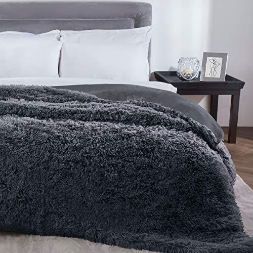 Sleepdown Manta de Pelo Largo de Piel sintética para sofá (150 x 200 cm), Poliéster, Gris Oscuro