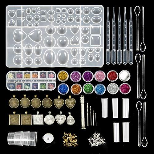 ZWOOS Moldes Resina, 107 Piezas DIY Transparente Silicona Epoxi Moldes Resina ,Resina Moldes para hacer artesanías de joyería DIY, Collar Pendiente Fabricación