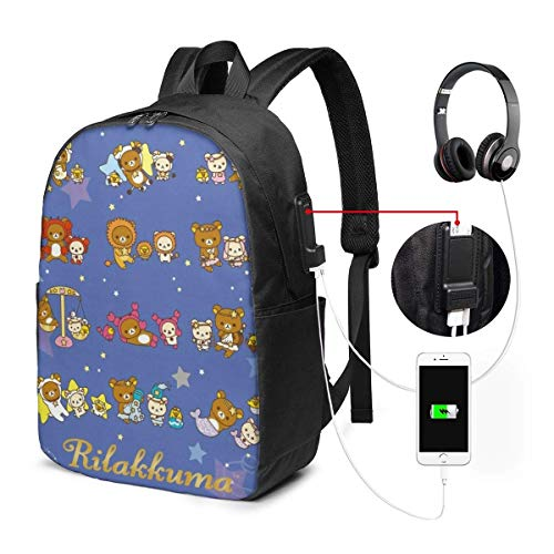 Daypacks,Rilakkuma Korilakkuma Kiiroitori Chairoikoguma Anime Rucksäcke, Casual Kinder Bookbags Für Gym Athletic,30cm(W) x43cm(H)