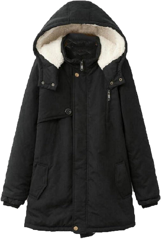 Womens Winter Warm Plus Size WoolLined Hooded Parkas Jackets Coat