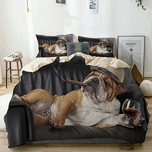 Aliciga Bettwäsche-Set,Mikrofaser,Beige,Humorvolle englische Bulldogge, die in einem schwarzen Ledersessel mit Einer Zigarre und einem Glas Cognac ruht,1 Bettbezug 240x260 + 2 Kopfkissenbezug