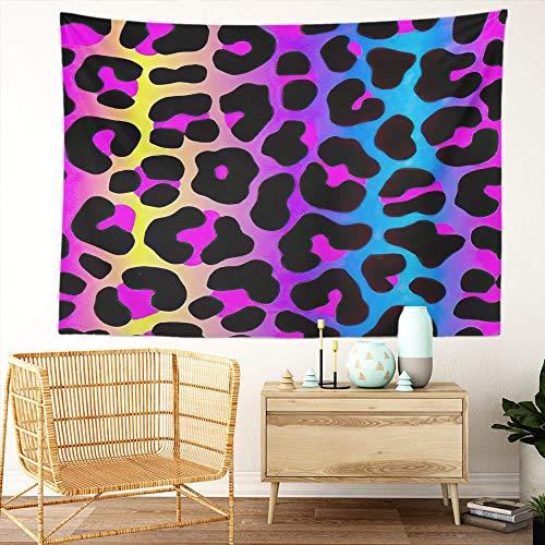 Y·JIANG Tapiz arco iris, diseño de leopardo de neón degradado animal para el hogar, tapiz grande decorativo, manta ancha para colgar en la pared para sala de estar, dormitorio, 80 x 60 pulgadas
