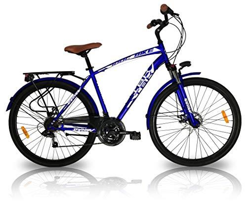 IBK, Bicicletta da Città City Bike Trekking 21 velocità Shimano Ammortizzata Uomo, Blu, M-L