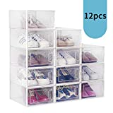 amzdeal 12 Pcs Stackable Shoe Storage Boxes - Front Entry and Clear plastic, Shoe Container and Sneaker Display Box for Closets and Entryway, Foldable Shoe Organizer for Kids, Men & Women Shoes