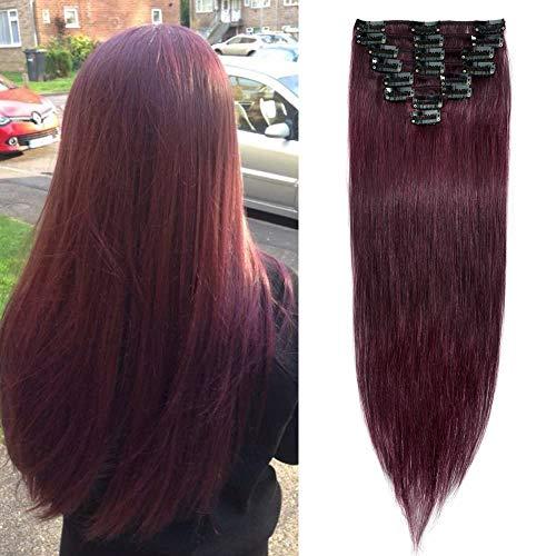 40cm - Clip in Extensiones de Cabello Humano 100% Remy 【 99J# Vino Rojo】Human Hair 8 Piezas 18 Clips Pelo Natural -65g