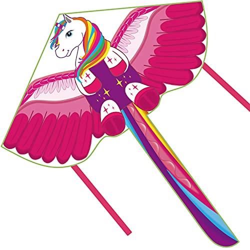 Fairwin Cometa Infantil para Niños, Diseño Grande y Simple Cometa Unicornio para Niños con una Cola Larga y Colorida, Adecuada para Juegos al Aire Libre y Actividades para Niños Niñas y Familias