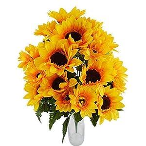 Herran Flores Artificiales Amarillo Girasoles Al Aire Libre Composiciones De Ramo Flores Falsas Plantas Primavera Verano…