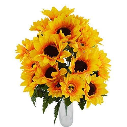 Herran Flores Artificiales Amarillo Girasoles al Aire Libre Composiciones de Ramo Flores Falsas Plantas Primavera Verano Decoraciones para Balcones Cementerio Jardín Interiores