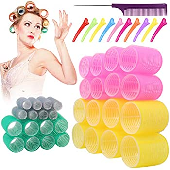 Jumbo Hair Rollers Hair Curlers 2.2 inch Large Self Grip Hair Curlers for Long Hair Big Hair Rollers for Long Hair No heat Curlers Hair Hair Rollers with Clips & Comb.32 Pack