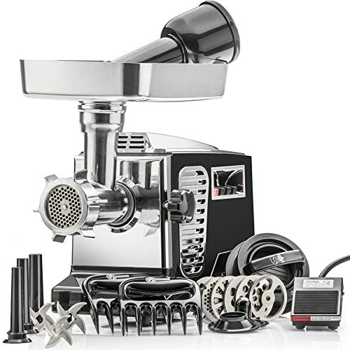 "STX Turboforce II""Platinum"" w/Foot Pedal Heavy Duty Electric Meat Grinder & Sausage Stuffer: 6 Grinding Plates, 3 S/S Blades, 3 Sausage Tubes, Kubbe, 2 Meat Claws, Burger-Slider Patty Maker - Black"