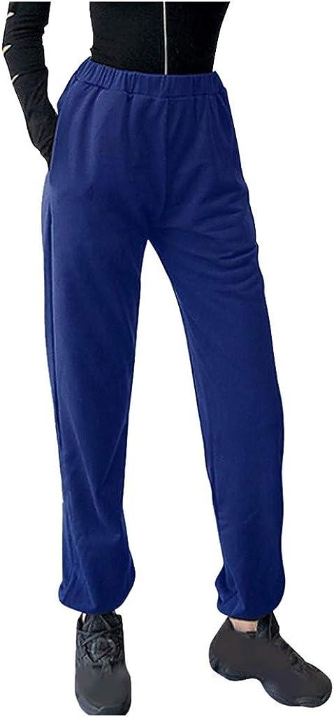 WUAI-Women Active Sweatpants Workout Yoga Joggers Pants Casual Drawstring Loose Sports Sweat Pants with Pockets