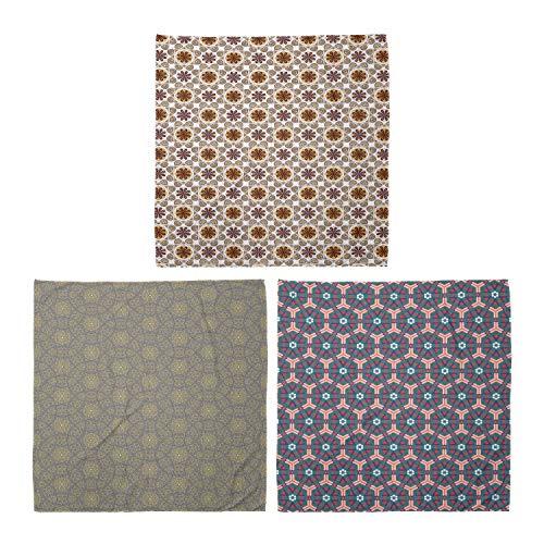 ABAKUHAUS Unisex Bandana, Damast-Blumen Hexagonal Fliesen, 3er Pack, Mehrfarbig