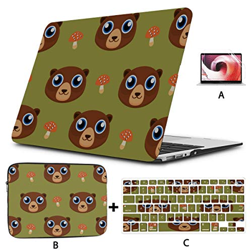 Macbook Air Computer Case Cute Cartoon Brown Bear A1706 Macbook Pro Case Hard Shell Mac Air 11'/13' Pro 13'/15'/16' With Notebook Sleeve Bag For Macbook 2008-2020 Version