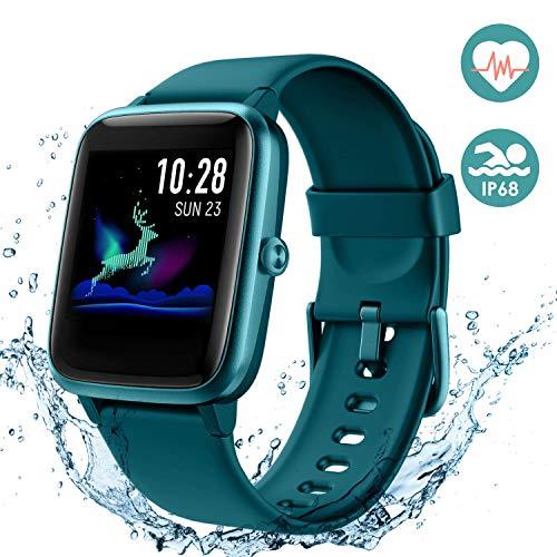 Arbily Smartwatch, Fitness Armband Voller Touchscreen Uhr, IP68 Wasserdicht Armbanduhr, Smart Watch mit Schrittzähler Pulsmesser Stoppuhr für Herren Jungen Sportuhr (Blau)