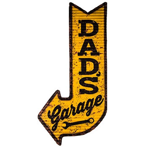 Dads Garage Sign Large Dads Garage Yellow and Black Arrow Sign
