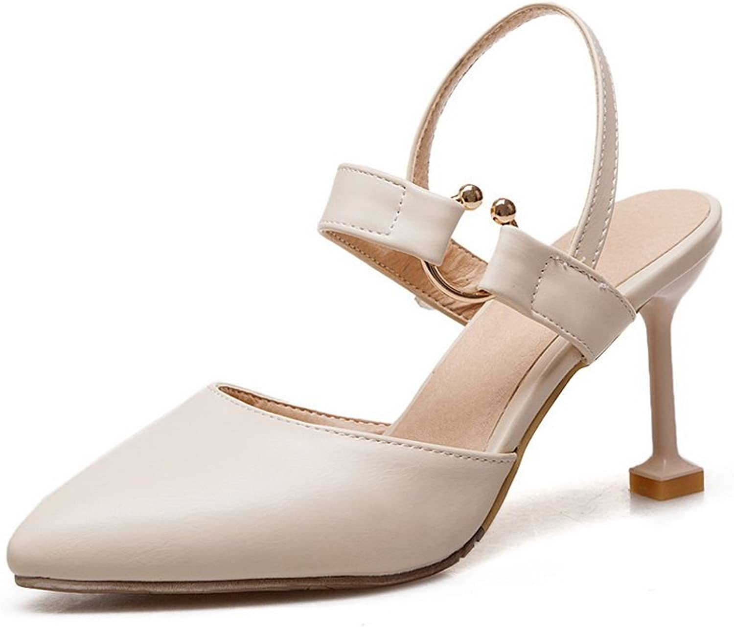 AdeeSu Womens Pumps-shoes Closed-Toe Buckle Adjustable-Strap Cold Lining Not_Water_Resistant Track Light-Weight Urethane Pumps shoes SLC03466