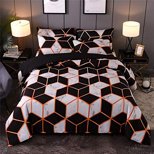 BH-JJSMGS Printed marble pattern reversible design, duvet cover set, super soft microfiber reversible bedding, with zipper opening and closing, square King220*240cm
