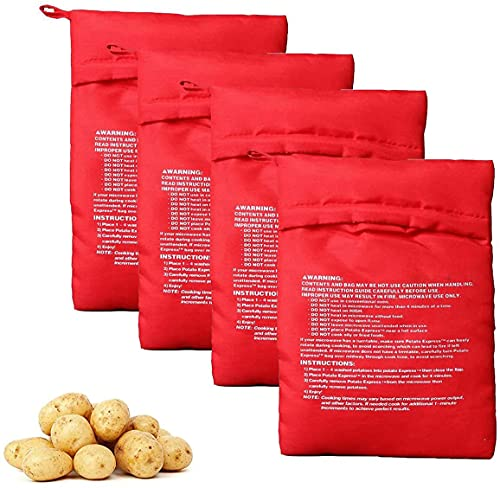 4 bolsas de patatas rojas para microondas reutilizables para patatas y microondas para cocinar en solo 4 minutos