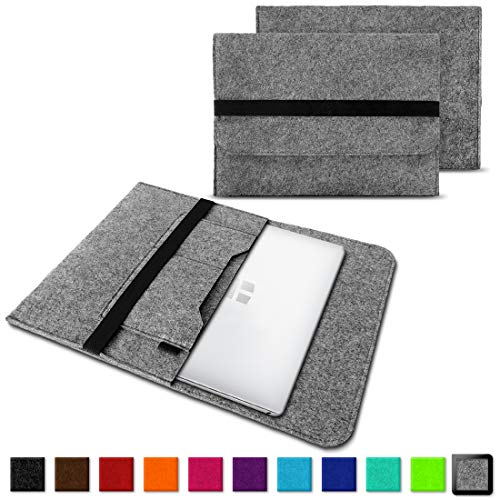 NAUC Laptoptasche Sleeve Schutztasche Hülle für Trekstor Surfbook W1 W2 Netbook Ultrabook 14,1 Zoll Laptop Filz Case, Farben:Hell Grau