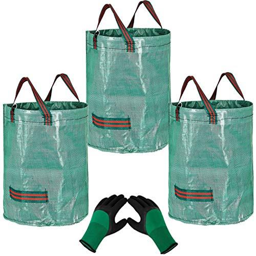 3 x 272L Bolsas para Desechos de Jardín y 1 guantes,Saco