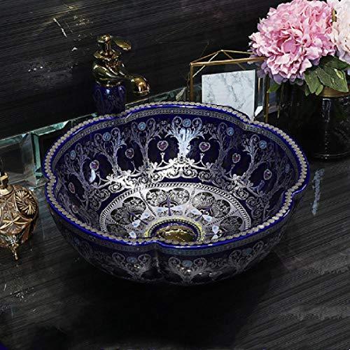 YYZD Lavabo de cerámica Lavabo de cerámica de arte simple, champú, lavabo de baño, encimera, juego de drenaje redondo, solo lavabo