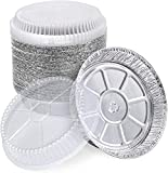 """Top outside diameter (rim to rim): 5"""" - Top inside diameter: 4-3/8"""" - Bottom diameter: 3"""" Depth: 1-1/8"""" Lid adds 3/4"""" to height, so pan with lid is about 1-7/8"""" tall.29 gauge aluminum foil Capacity: 6 fluid oz 50 Sturdy Pans And 50 Clear Lids Combo V..."""