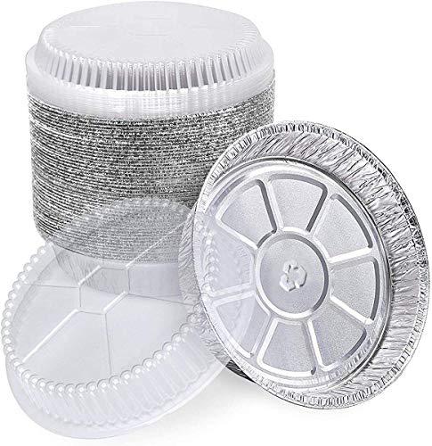 "5"" Aluminum Foil Pie Pans with Dome Lids, 50 Pcs Disposable Aluminum individual Pot Pie Pan for Baking, Cooking, Storage & Reheating"