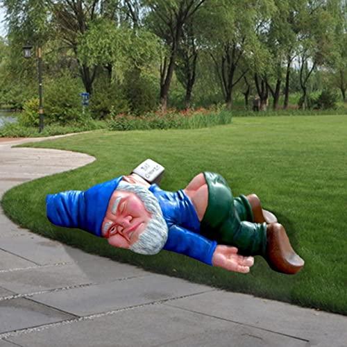 Lustige betrunkene GNOME Gartendekoration, Gartenzwerg, lustige Mini Garten Harz Zwerg Statue Skulptur Garten Ornamente Outdoor für Hausgarten Hof Terrasse Outdoor Dekoration Ornament